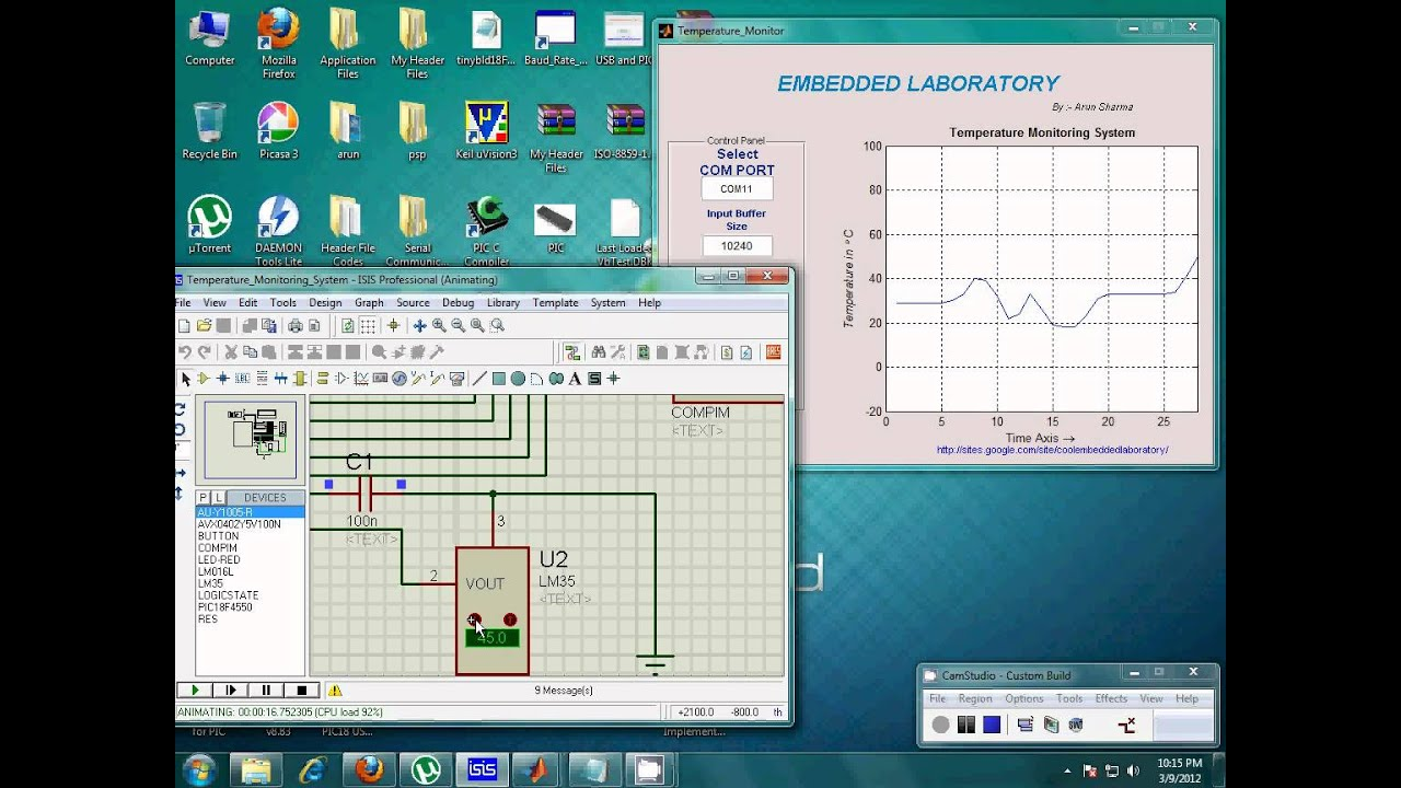 Temperature Monitoring System using PIC with Temperature Graph Display in  MATLAB