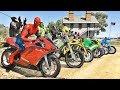 HOMEM ARANHA E O DESAFIO DO SALTO COM MOTO NO FAROL! MOTOS COM SPIDERMAN - IR GAMES