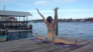 """Laura Kay """"Seated Wide Angle"""" Bikini Yoga Bocas del Toro, Panama"""