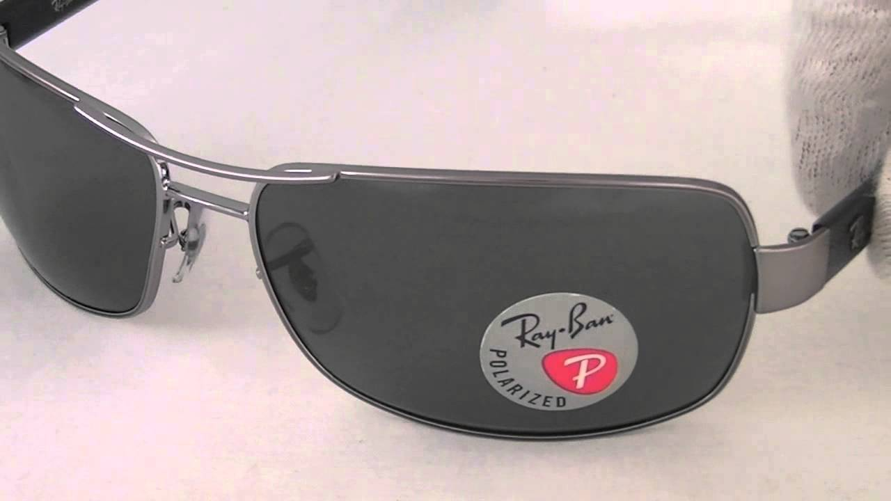 d7f21750be Ray Ban Rectangular Polarized Crystal Green Sunglasses RB3379 004 58 -  YouTube