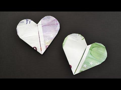 Origami Herz Euro Geldschein GELD FALTEN    Money Origami Heart Tutorial DIY