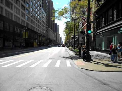 Biking along State Street, Chicago - Sept 4, 2011