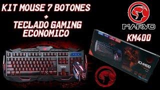 Kit De Mouse 7 Botones y Teclado Gaming Económico /MARVO KM400