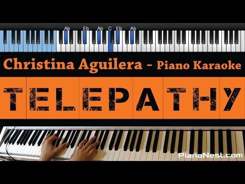 Christina Aguilera -Telepathy - LOWER Key (Piano Karaoke / Sing Along)
