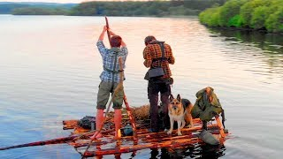 Two dudes +dog Survive & Fish on a Raft!