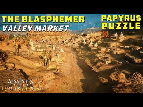 The Blasphemer | Valley Market, Euhemeria, Faiyum | Papyri Puzzle Treasure Location | AC Origins