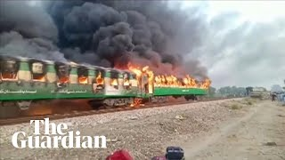 At least 70 dead after fire on train in Pakistan