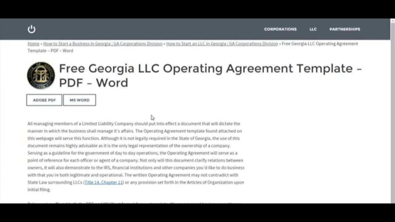 Free Georgia Llc Operating Agreement Template Pdf Word Youtube