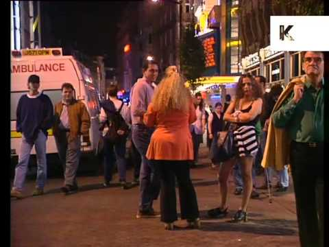 1990s Leicester Square and Charing Cross Road at NIght, London