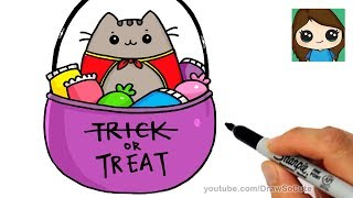 How to Draw Trick or Treat Candy Pusheen
