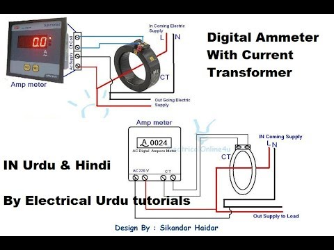 digital ammeter with current transformer wiring for single phase in urdu   hindi