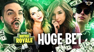 POKIMANE, KITTYPLAYS, AND CIZZORZ MAKE ME A HUGE BET! BEST ENDING EVER! (Fortnite: Battle Royale)