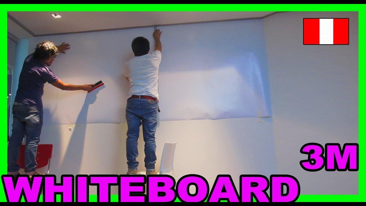 Instalacion de pizarra blanca 3m whiteboard vinil for Laminas de decoracion para pared
