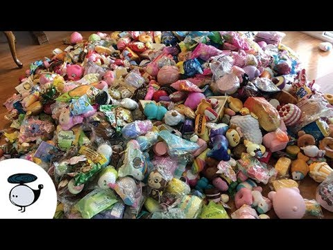 Dumping all my squishies on the floor..