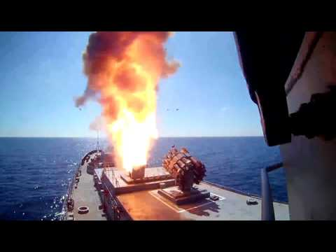 Russian Navy firing cruise missiles on ISIS positions near Palmyra