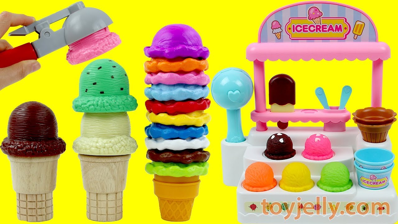 Learn Colors Ice Cream Cart Playset Toys Kinder Surprise