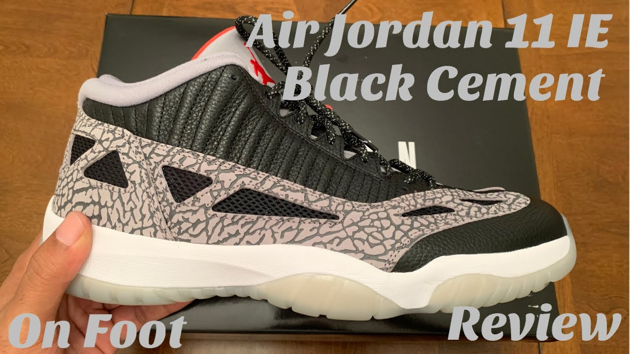 Air Jordan 11 Low Ie Black Cement Unboxing Review On Foot