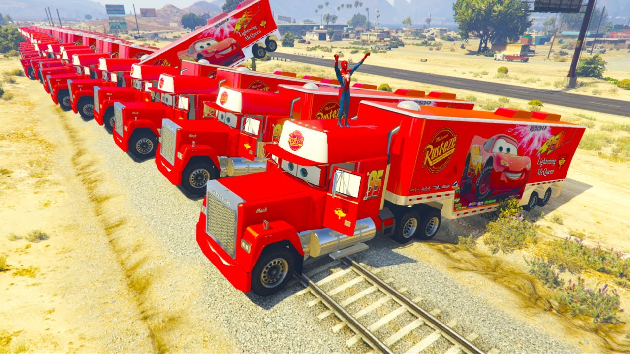 A lot of Mack Truck Hauler In Trouble With Thomas Train Spiderman Saved