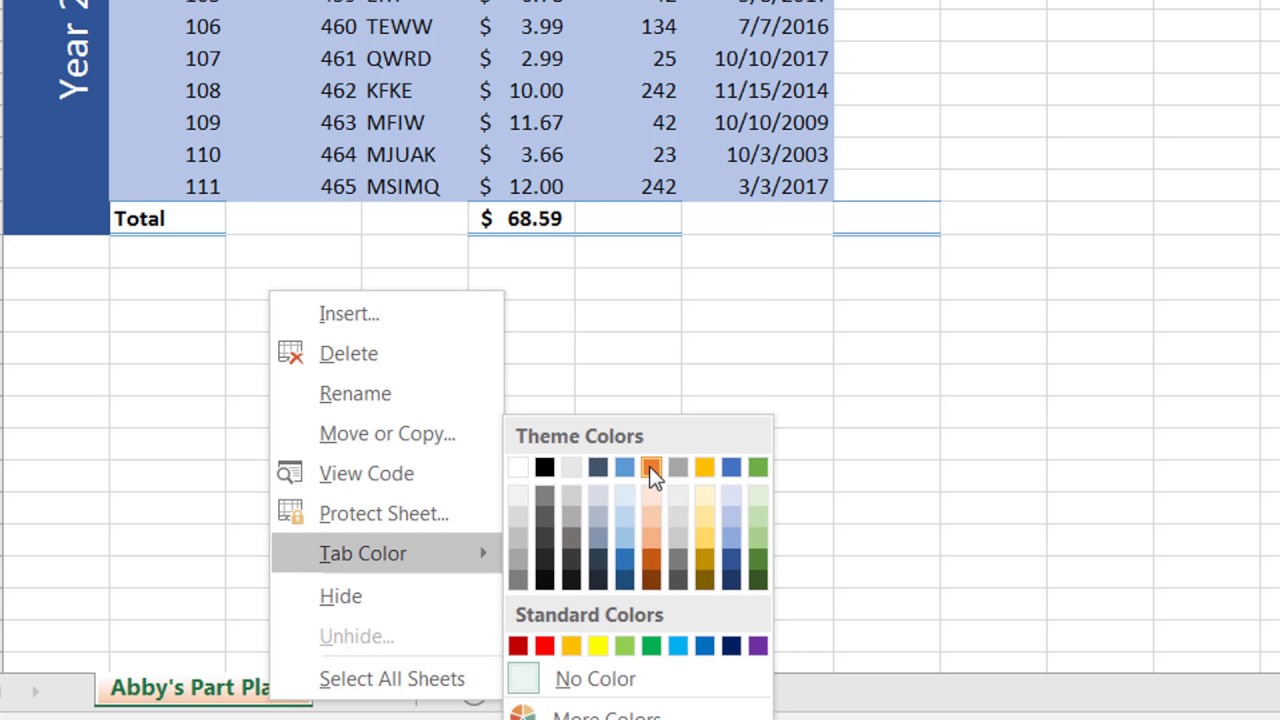 MS Excel Change Sheet Name and Tab Color - YouTube