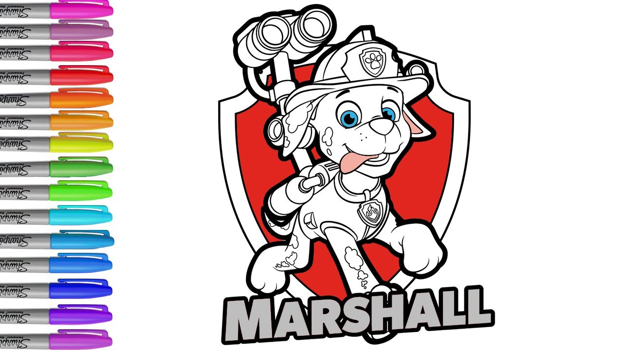 Coloring pages Paw Patrol Marshall, drawing and coloring ...