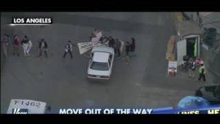 L A  Driver Did Not Stop For Protesters Blocking Road (NickSo Video)