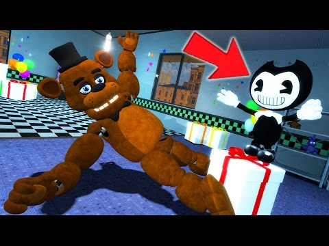 Thumbnail: FREDDY & ANIMATRONICS FRIENDS vs BENDY & THE INK MACHINE! (Gmod For Kids FNAF Sandbox Funny Moments)