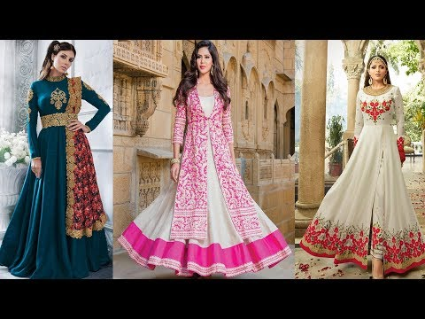 stylish party wear dress designs collections 2018 |long anarkali dress design