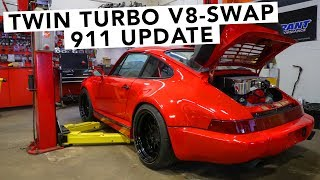 Twin Turbo Chevy GM V8 Swapped Porsche 911 - Engine Is In!