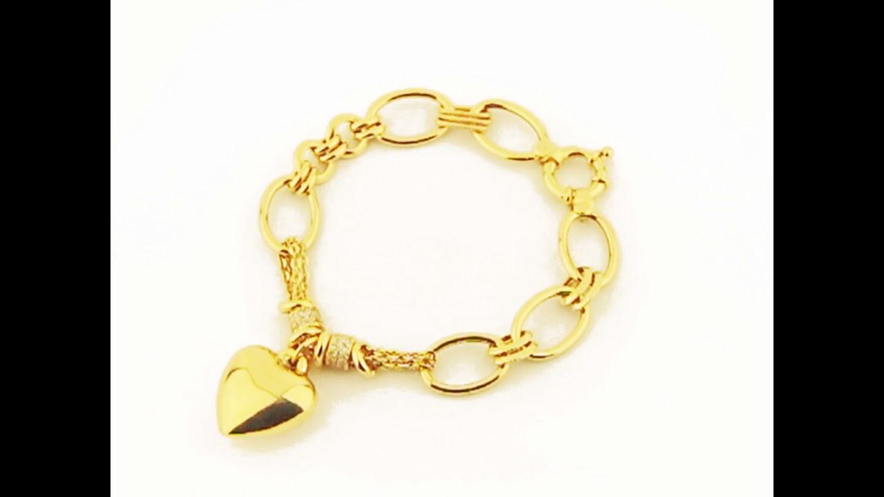 22da3a8a324 Pulseira de ouro 18k com berloque e pingente coração - coleção Di Cuore. Aubra  Joias