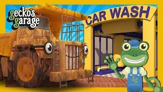 Dirty Diggers & Dump Trucks in the Car Wash | Gecko's Garage | Truck Cartoons For Children