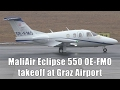 MaliAir Eclipse 550 takeoff at Graz Airport | OE-FMO
