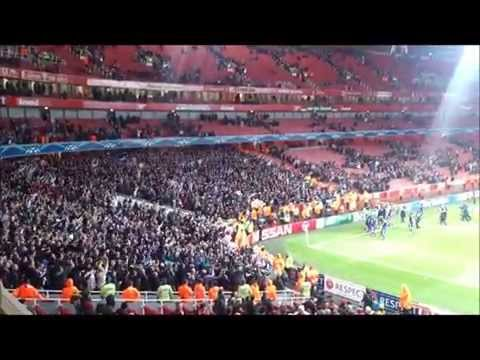 Arsenal vs Anderlecht 3-3, Anderlecht fans party at the stand