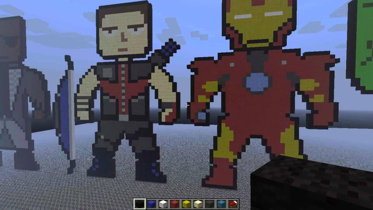 Minecraft Pixel Art: Marvel's Avengers - YouTube