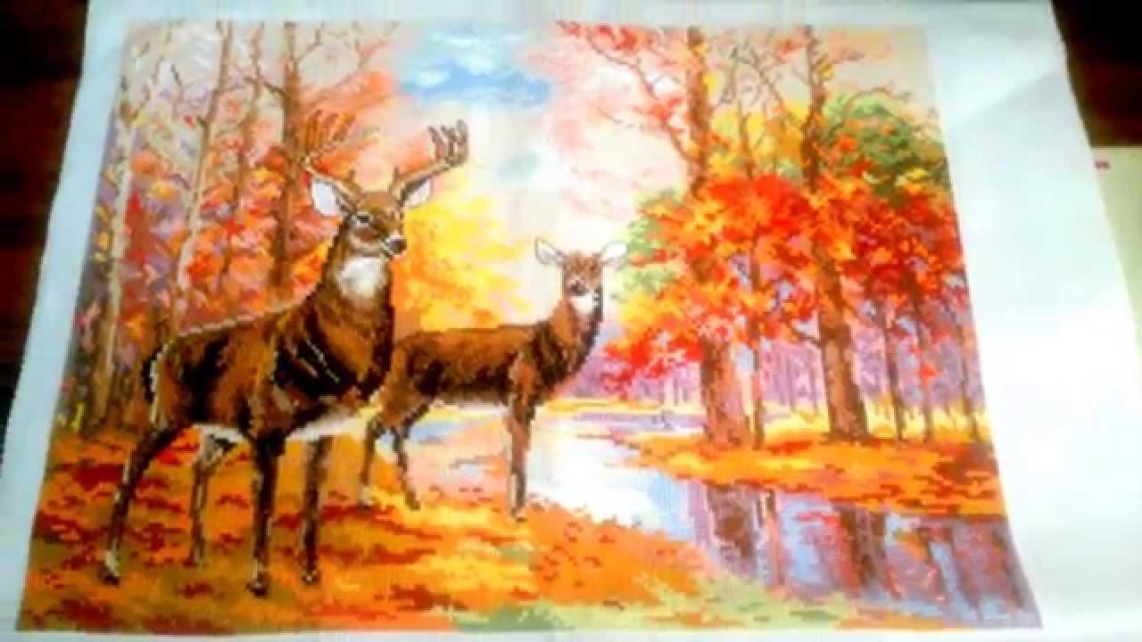 Вышивка олени в осеннем лесу