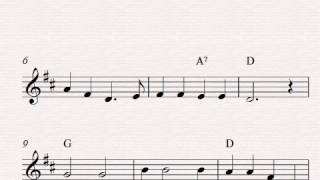 Free easy violin sheet music, Oh, Susannah