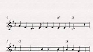 Free easy violin sheet music, Oh, Susannah