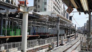 【前面展望】JR渋谷駅 2番線ホームから見た改良工事中の新埼京線ホーム~新型LCD発車標が3.30に稼働した恵比寿駅