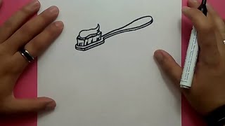 Como dibujar un cepillo de dientes paso a paso 2 | How to draw a toothbrush 2