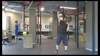 Доношение гирями 40кг+42,7кг напопа. Bottoms up kettlebells 40kg+42,7kg two hands anyhow.