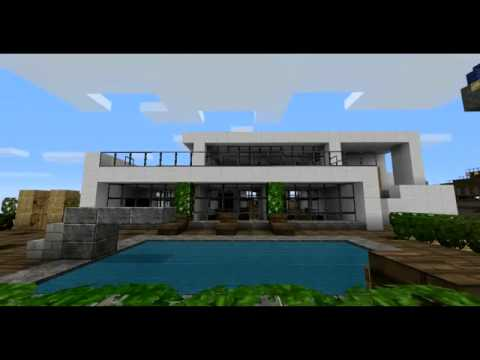 Minecraft super villa con piscina by dl96 hd youtube for Case bellissime minecraft