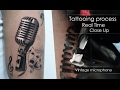 Process tattooing Real Time Close Up - Vintage microphone Realism black and white 🎤🎼