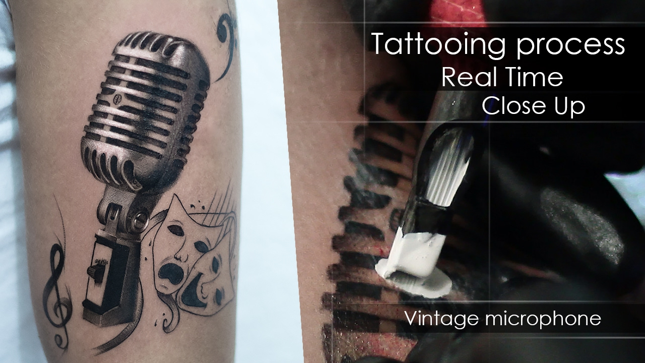 Process tattooing Real Time Close Up - Vintage microphone Realism ...