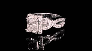 1 7/8 CTW Radiant Cut Diamond Infinity Engagement Ring in 14K White Gold