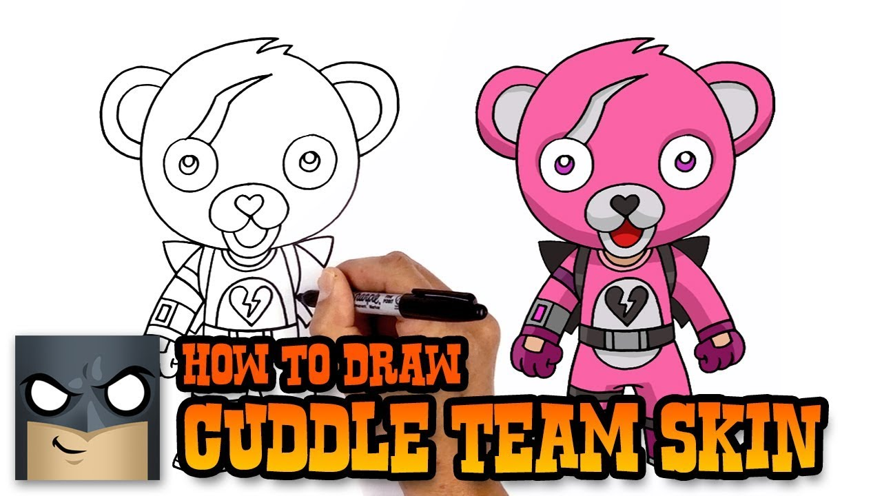 How To Draw Cuddle Team Leader Fortnite Art Tutorial Youtube