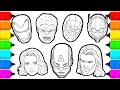 Avengers members Superheroes Faces Drawing and Coloring for Kids