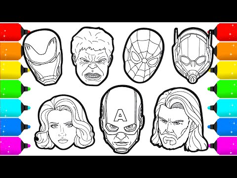 Avengers Members Superheroes Faces Drawing And Coloring Youtube
