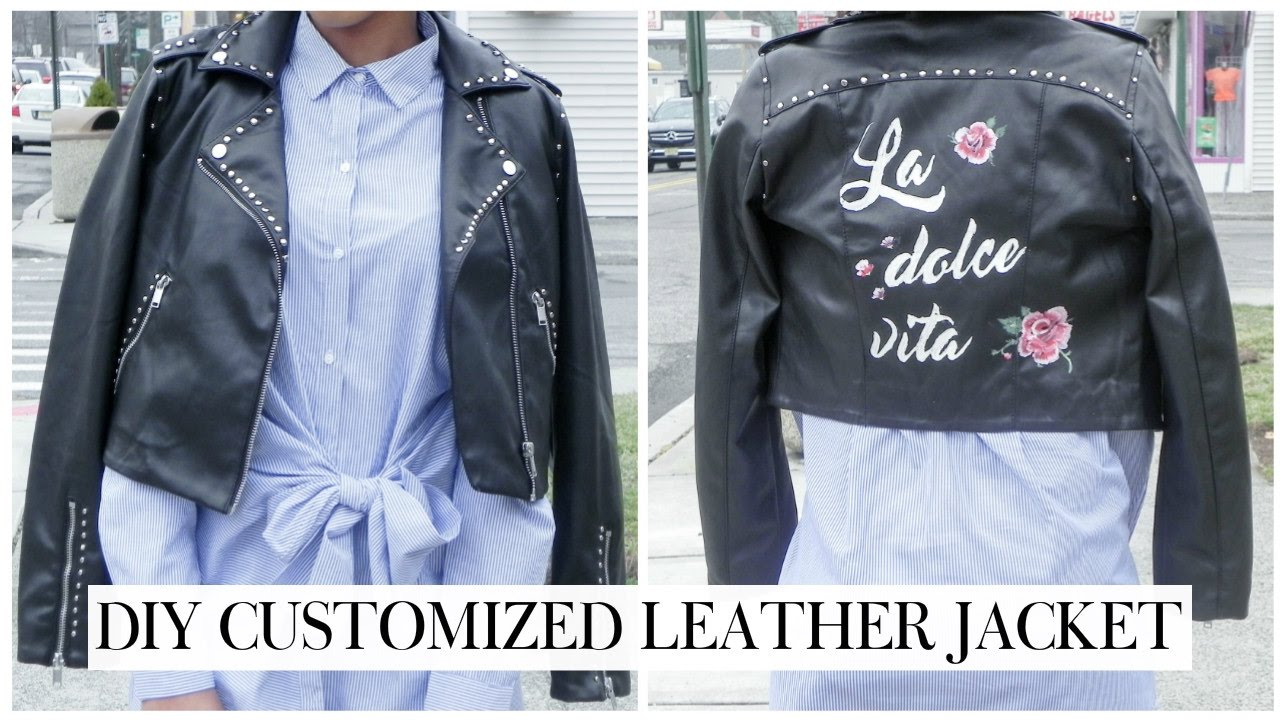 Leather jacket diy - Diy Customized Leather Jacket Studded Jacket Kelsley Nicole