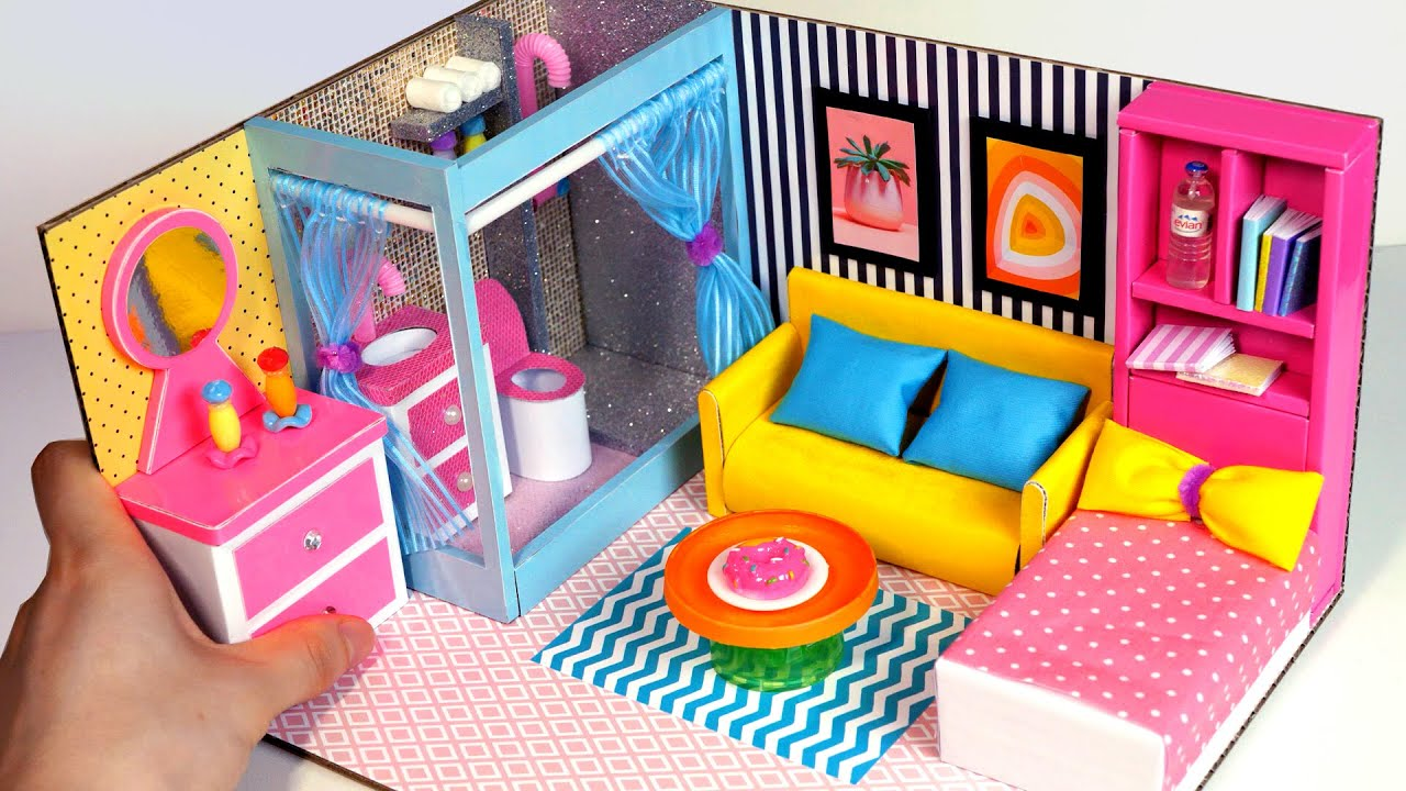 DIY Miniature Cardboard House #30   bathroom, bedroom, living room