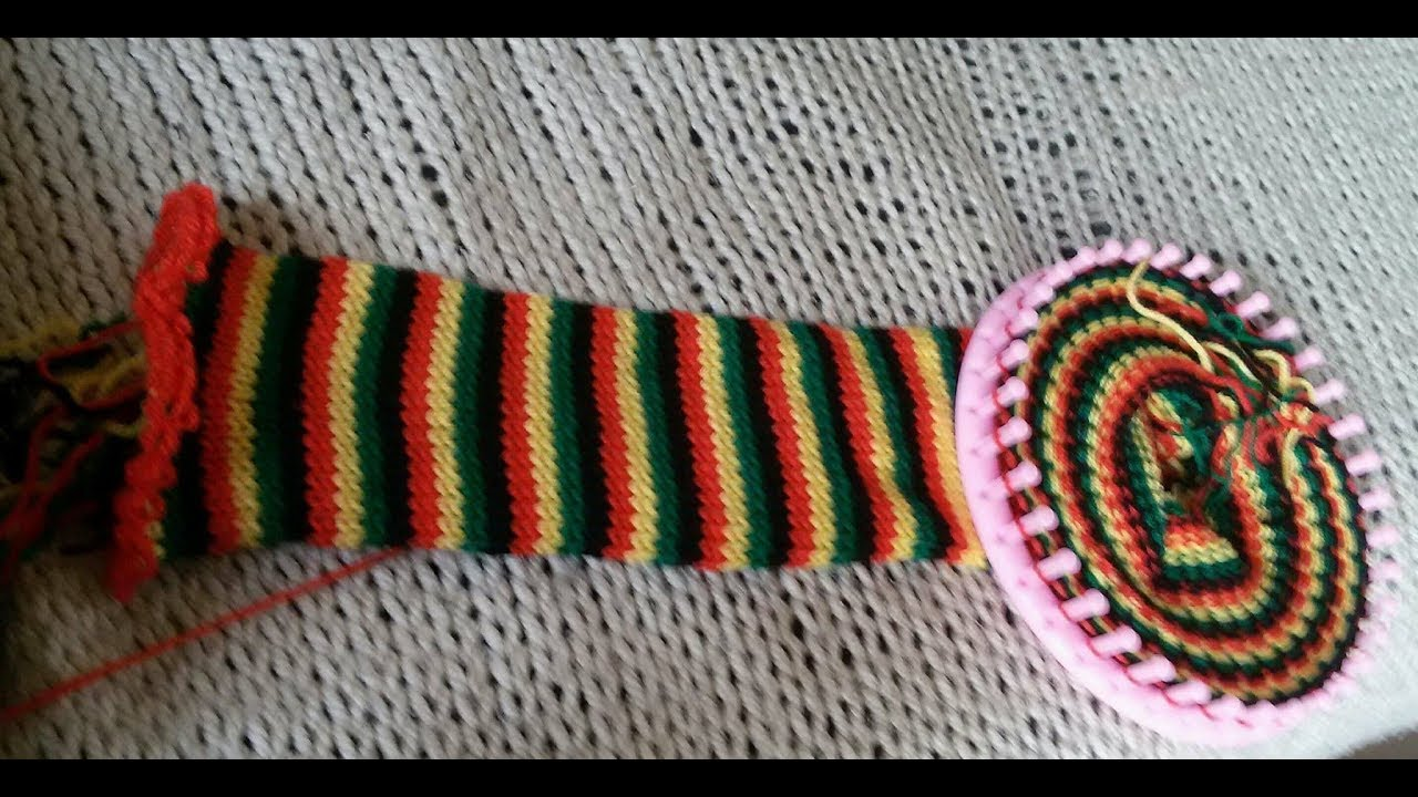 Tube scarf on a round loom - English - part 1 - YouTube