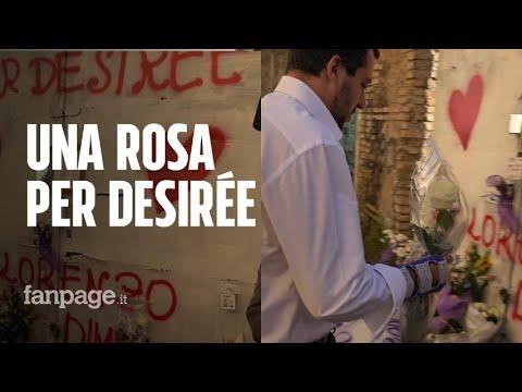 Desirée Mariottini, Matteo Salvini torna a San Lorenzo e lascia rosa in ricordo per la ragazza morta